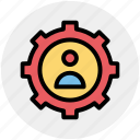 cog, gear, man, options, setting, user icon