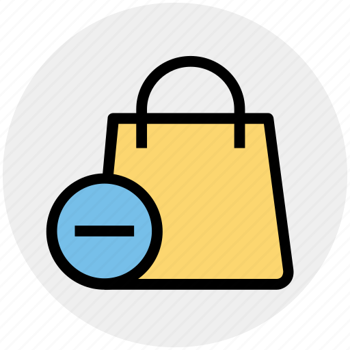 bag, gift bag, hand bag, minus, money bag, shopping bag icon