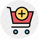 add, cart, plus, plus cart, shopping, shopping cart icon