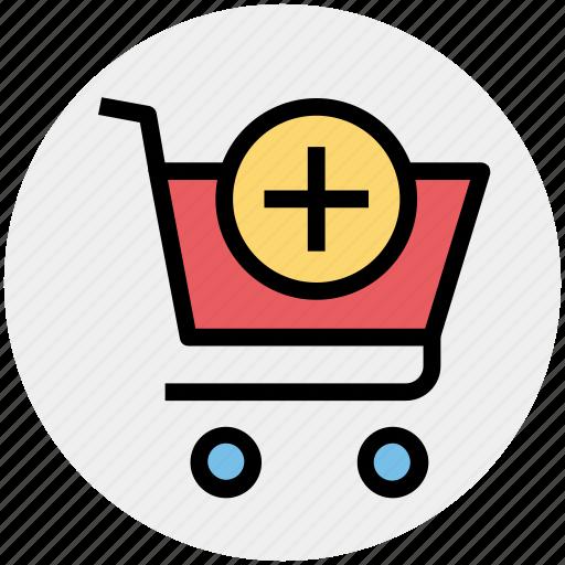 add, cart, plus, plus cart, shopping, shopping cart icon