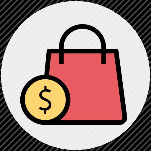 bag, dollar, hand bag, shopping, shopping bag icon