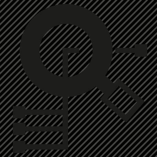 analysis, analytics, magnifier glass icon