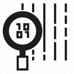 analysis, analytics, binary, data, digital, magnifier glass icon