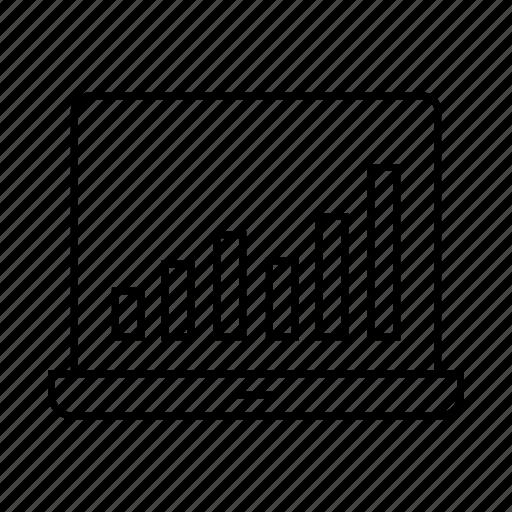 bar chart, computer, data, laptop, plot icon