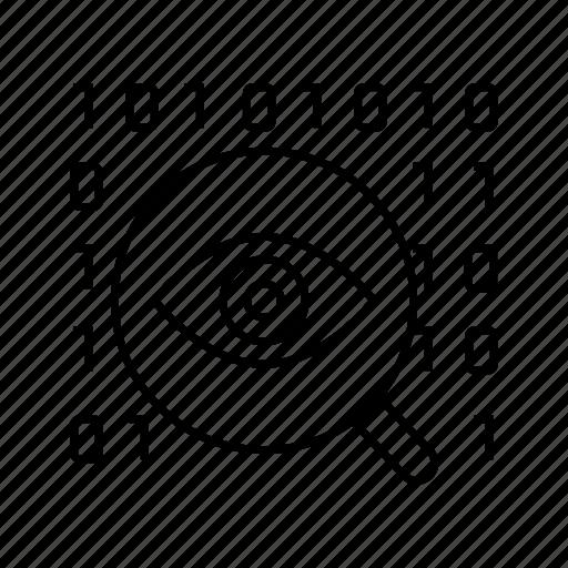 binary, coding, eye scan, magnifier, scan, security, sensor icon