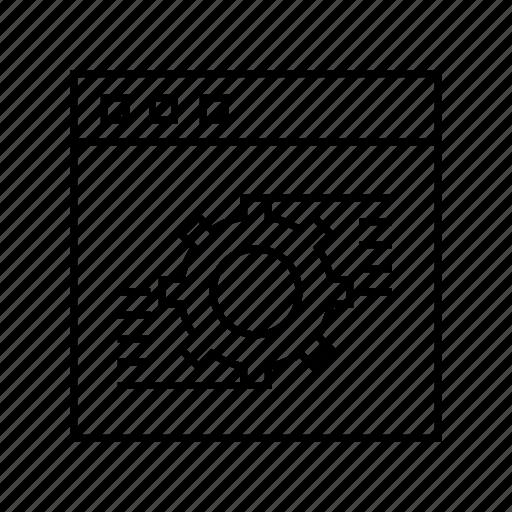 cog, gear, internet, setting, web icon