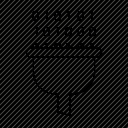 binary, digital, filter, flow, funnel icon