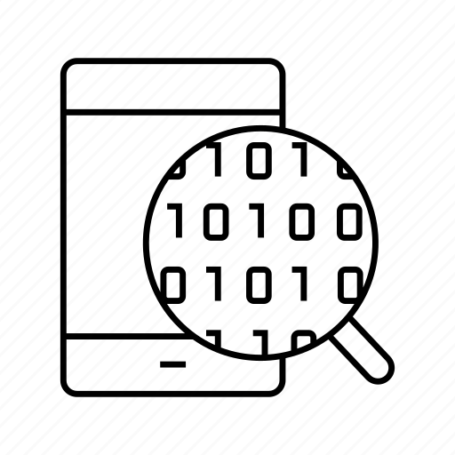 binary, data, digital, magnifier, mobile, phone, scan icon