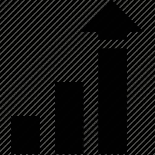 analysis, bar chart, bar chart with arrow, bar chart with high arrow, diagram, line chart, plot icon