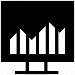 bar chart on board, bar chart presentation, graph on board, presentation, presentation on graph icon
