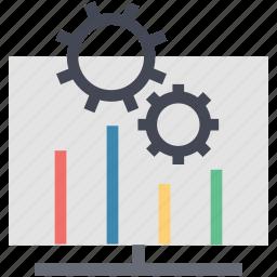 arrow, bar chart with gear, business chart, chart, gear bar chart, report bar chart icon
