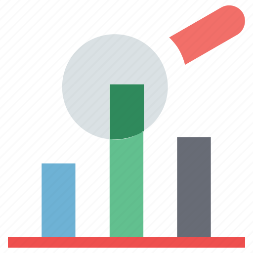 analytics, bar chart, bar chart search, magnifying, searching icon