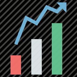 analysis, bar chart, diagram, diagram with arrow icon