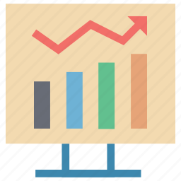 bar chart on board, bar chart presentation, graph on board, presentation, presentation on graph icon