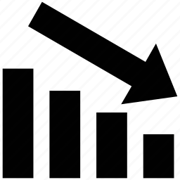 bar chart, bar chart arrow, bar chart with low arrow, diagram, report, stat, statistics icon