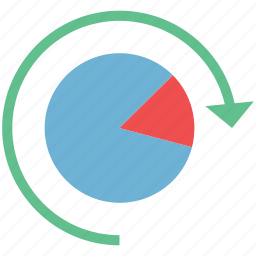 business analytics, chart with refresh, diagram, pie chart, refresh pie chart icon