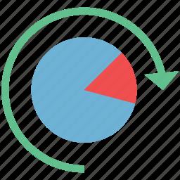 business analytics, chart with refresh, diagram, pie chart, refresh pie chart icon