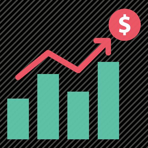 analytics, bar chart, chart, data, dollar, report, statistics icon