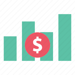 analytics, bar chart, chart, data, dollar, report, statistics icon