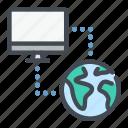 computer, connect, connection, data, globe, suncronization, sync icon