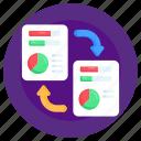 document transfer, file transfer, data transform, data exchange, documents exchange icon