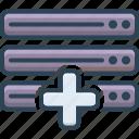 add, data, database, server icon