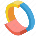graph, growth, iso, isometric, ring icon