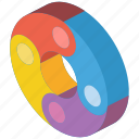 doughnut, graph, iso, isometric icon