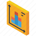 bar, graph, iso, isometric, tile icon