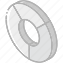 chart, doughnut, graph, iso, isometric icon