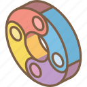 doughnut, graph, iso, isometric