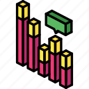 bar, chart, comment, graph, iso, isometric icon