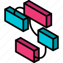 graph, iso, isometric, relationships icon