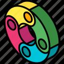 doughnut, graph, iso, isometric icon