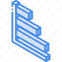 bar, chart, graph, iso, isometric icon