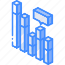 comment, isometric, bar, graph, chart, iso