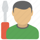 maintenance service, man with screwdriver, repair service, tech support, technical support icon