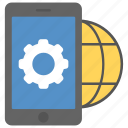 mobile app development, mobile application development, mobile connected to internet, mobile network development, mobile network innovation icon