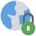 cyber security symbol, digital security symbol, global security concept, globe with padlock, online security icon