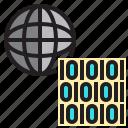 binary, code, computer, data, network, server, world icon