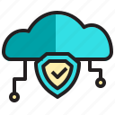 cloud, computer, data, network, protection, server icon