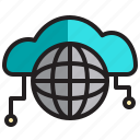 cloud, computer, data, network, server, world icon