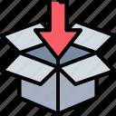 arrow, box, concept, data, download, secure, storage