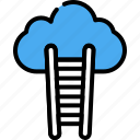 business, career, career ladder, human, person, sky, stairs icon
