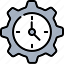 clock, deadline, gear, schedule, time, timer, timing icon