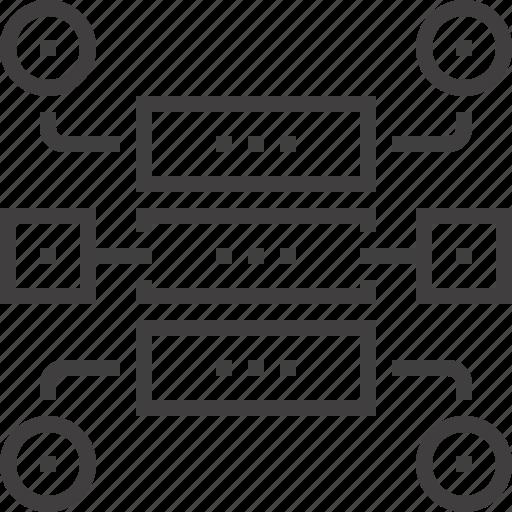 connection, data, diagram, plan, scheme, structure, workflow icon