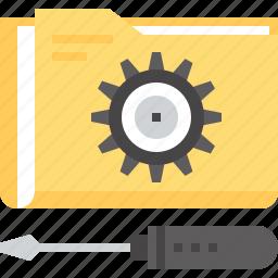 configuration, file, folder, options, service, settings, technical icon