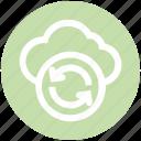 arrows, cloud, data science, reload, sync, update