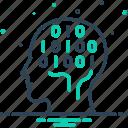 algorithm, binary mind, chip, coding, hardware, human, technology icon