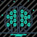 binary mind, brain, circuit, coding, mind, processor, programmer icon